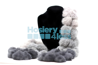 Picture of OMBRE RABBIT FUR POM POM SCARF