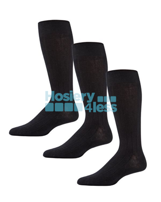 Picture of MEMOI 3P RIBBED SOCKS BLACK 10-13