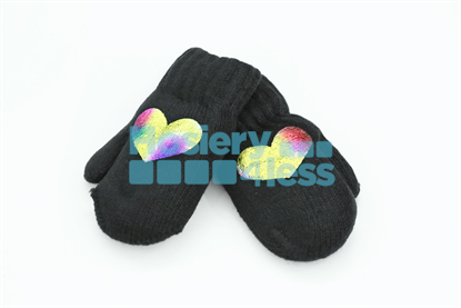 Picture of DACEE KNIT FOIL HEARTS MITTENS